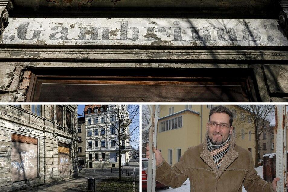 Auch rund 100 Jahre nach Schließung des Restaurants prangen noch Gambrinus-Schriftzüge am Eckhaus Bahnhofstraße 50/Konsulstraße in Görlitz (o.). Einige davon sollen sogar bei der Sanierung des Gebäudes erhalten bleiben. Zur Bahnhofstraße hin gab es zwei G