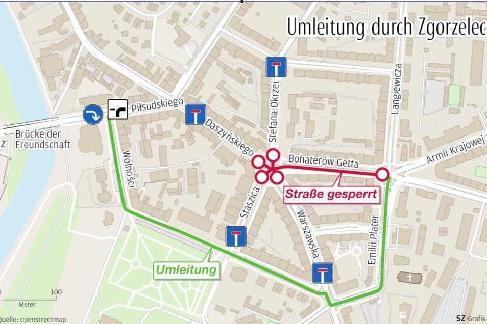 So ist die Umleitung durch Zgorzelec derzeit ausgeschildert.