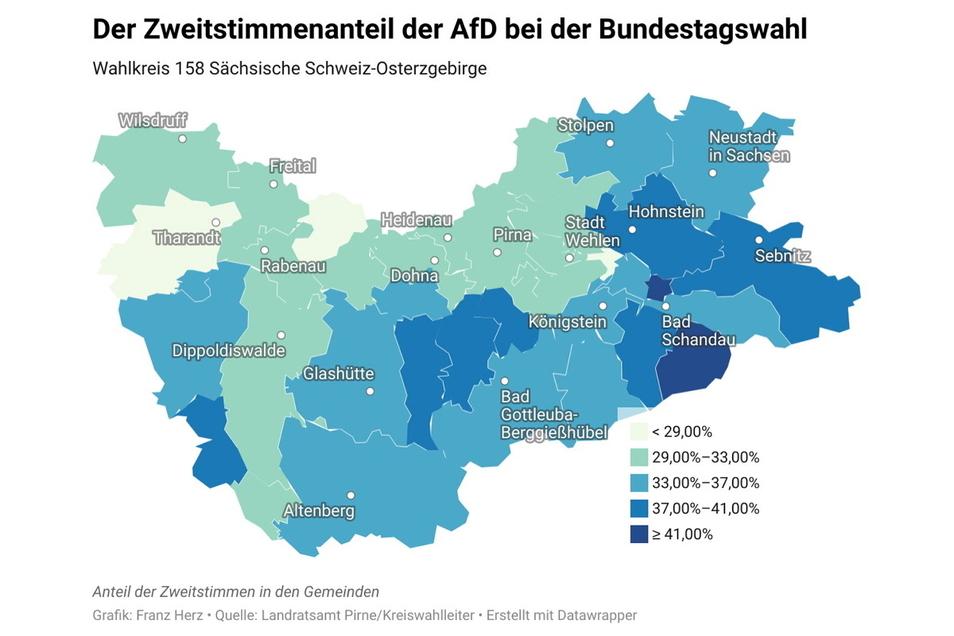 So unterschiedlich war der Zweitstimmenanteil der AfD im Landkreis Sächsische Schweiz-Osterzgebirge.