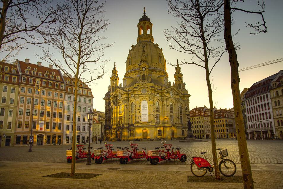 Die menschenleere Dresdner Innenstadt am Ostersonntag.