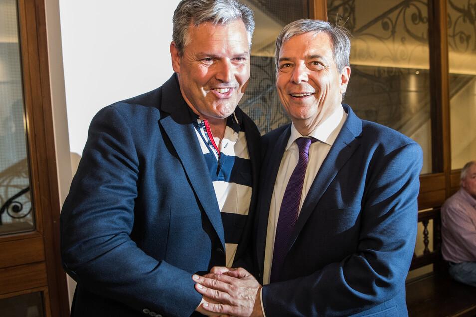 Zwischen Eberhard Seidensticker (CDU/links) und Gert-Uwe Mende fällt heute in der Görlitzer Partnerstadt Wiesbaden die Entscheidung bei der Stichwahl um den OB-Posten in der hessischen Landeshauptstadt.