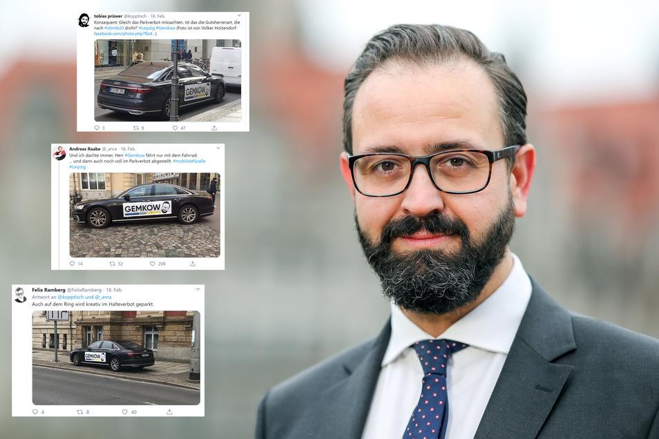 Wissenschaftsminister und Leipziger OB-Kandidat Sebastian Gemkow. Sein Konterfei ziert ein Auto, das immer wieder im Halteverbot fotografiert wird.