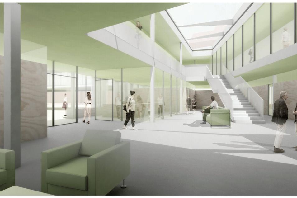 Schick und teuer: So soll es im künftigen Landratsamt in Görlitz aussehen. Nun hat der Kreistag für das Vorhaben gestimmt.