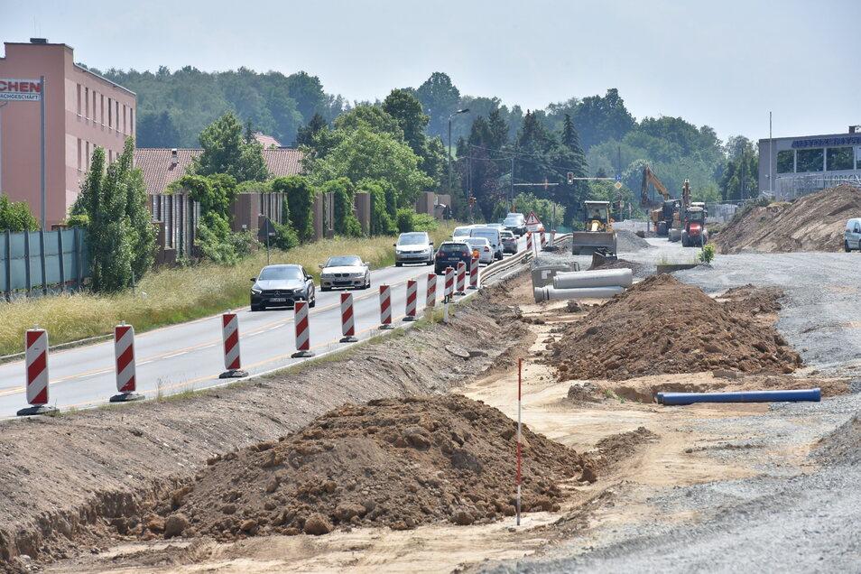 Bauarbeiten an der B170 in Bannewitz im Bereich an der Kreuzung Mc Donalds.