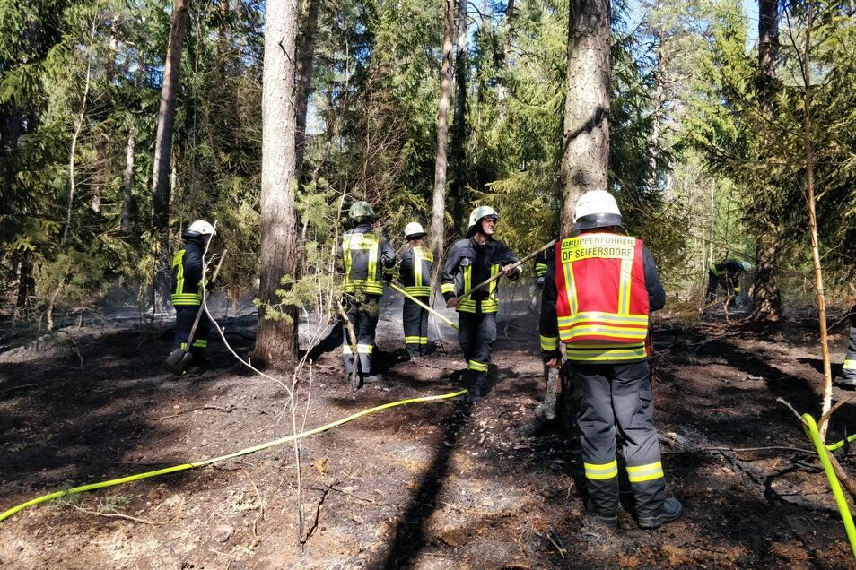 Ein Waldstück nahe Malter war in Brand geraten. Hier löschen die Feuerwehrleute letzte Glutreste.