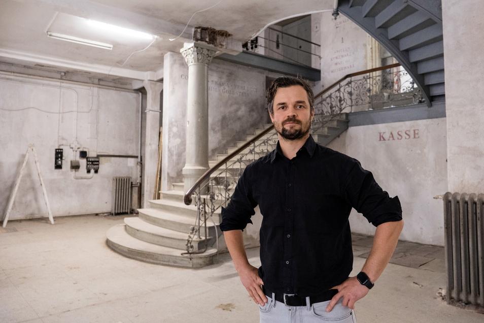 Christoph Scholze, Niederlassungsleiter von Grantiro Initiative GmbH, im alten Kaufhaus Totschek auf der Steinstraße in Görlitz.