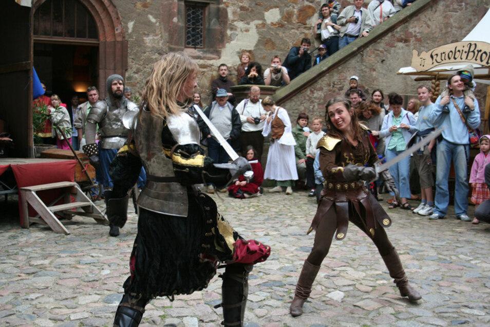 Auf der Burg Kriebstein sind dieses Wochenende die Ritter los.