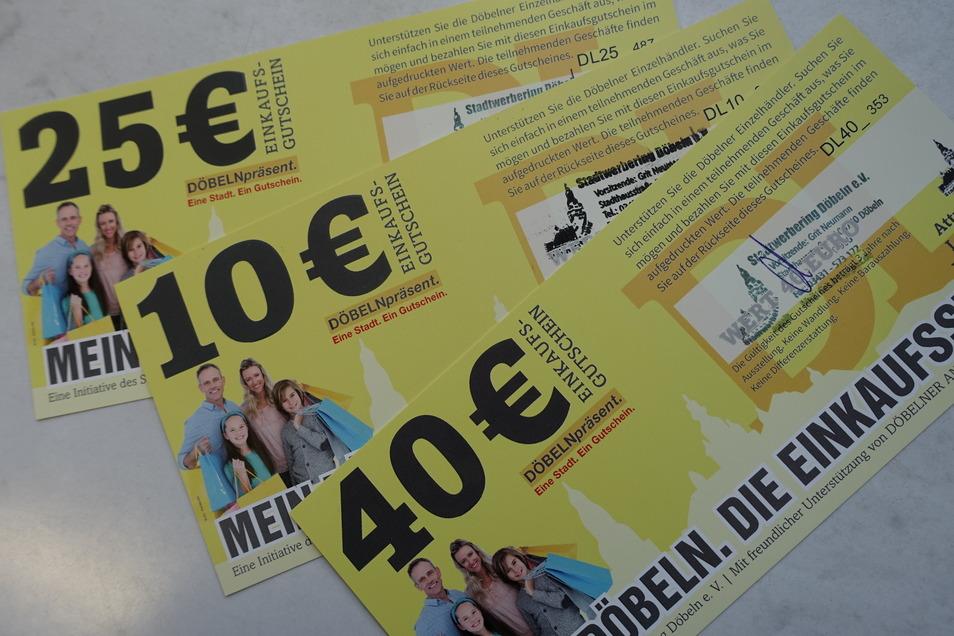 Sehr erfolgreich sind die Gutsscheine des Stadtwerberings. Auch die Stadt Döbeln nutzt das System, um mit einem subventionierten Gutschein die Händler zu unterstützen.