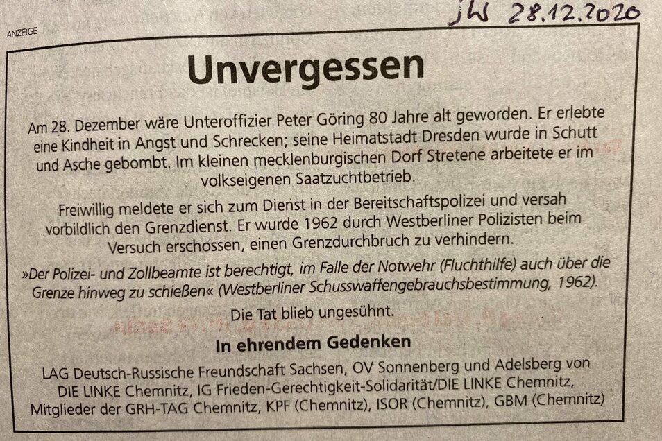Diese Gedenkanzeige war offenbar ohne Absprache mit dem Vorstand der Chemnitzer Linken in der Jungen Welt gelandet.