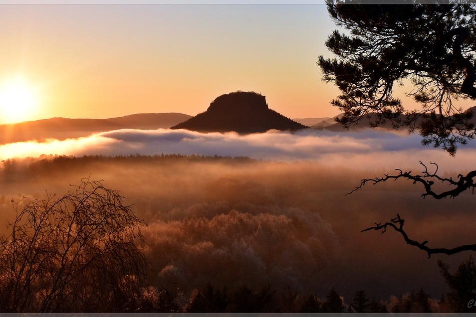 Mehr Stimmung geht kaum: Sonnenaufgang auf dem Kleinen Bärenstein. Im Gegenlicht wird die Silhouette des Liliensteins perfekt in Szene gesetzt. Zweimal jährlich geht die Sonne von hier aus gesehen sogar unmittelbar über dem Lilienstein auf, sodass man mei
