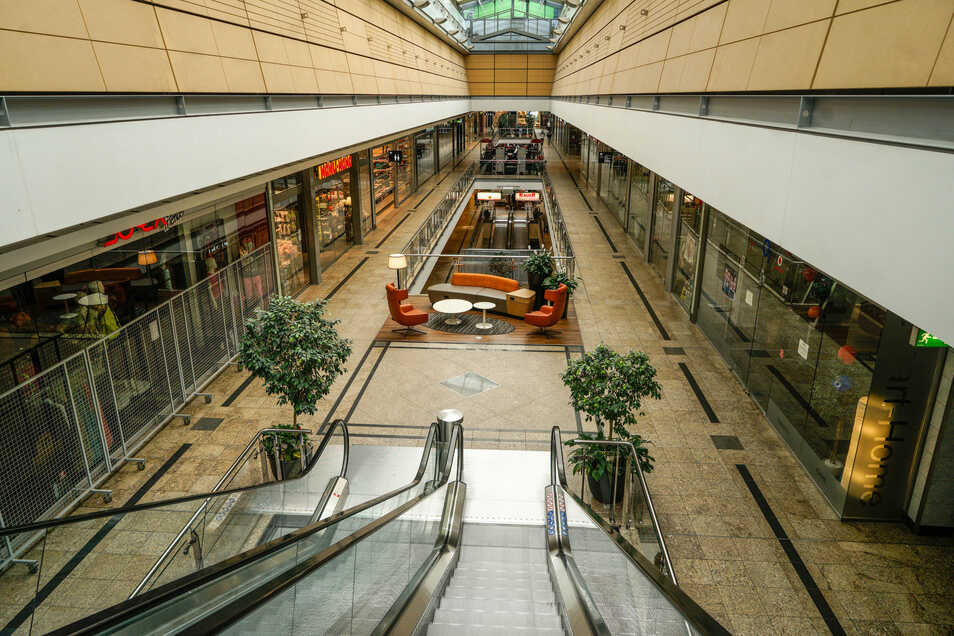 Gähnende Leere auf den Gängen in der ersten Etage im Bautzener Kornmarkt-Center.