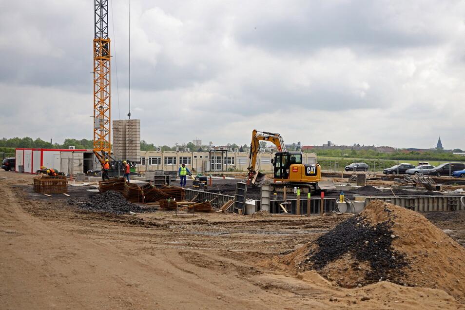 An der Baustelle von WT Energiesysteme in Riesa geht es voran.