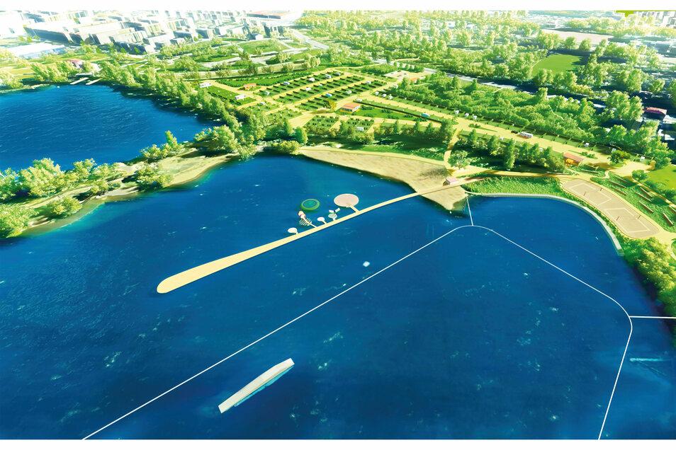 Zwischen Leubener Straße und Kiessee will Investor Hans-Peter Fritsch Platz für 170 Wohnmobile schaffen. Ein langer Steg trennt Wasserski- und Badebereich.