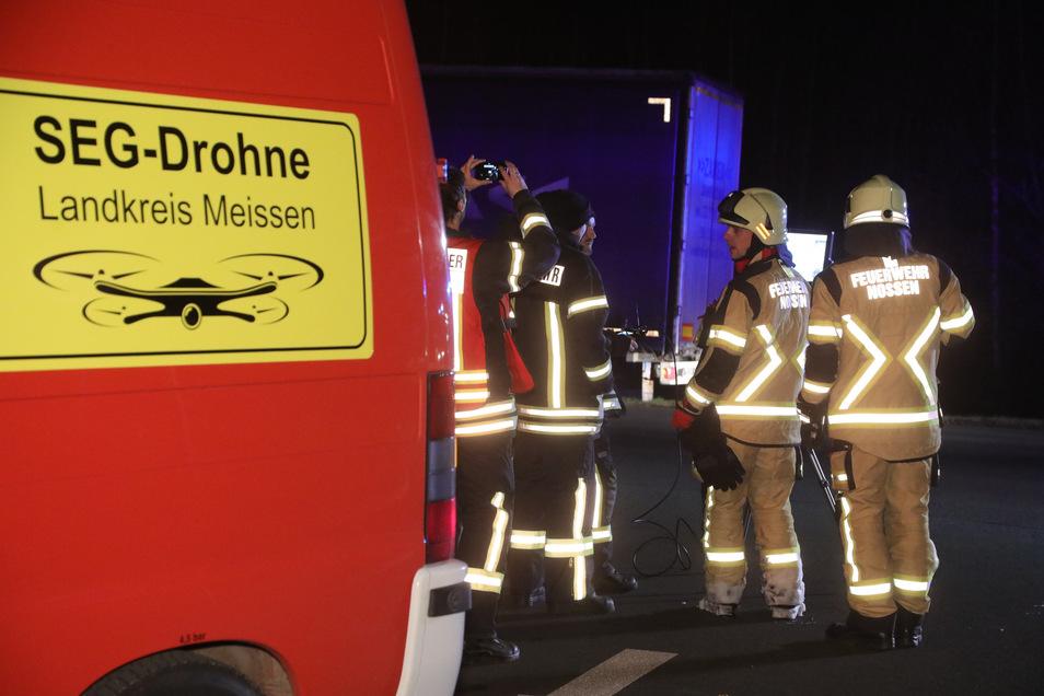 Die Drohne der Feuerwehr kam zum Einsatz.