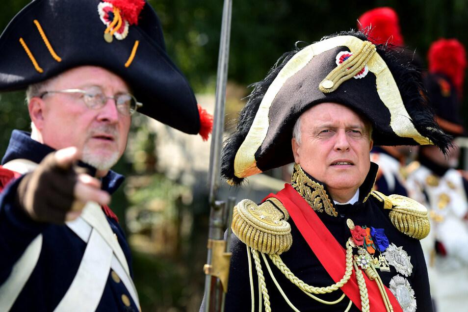 Wolfgang Coch (rechts) kam aus der Nähe von Hirschberg und verkörpert den französischen General Lauriston.