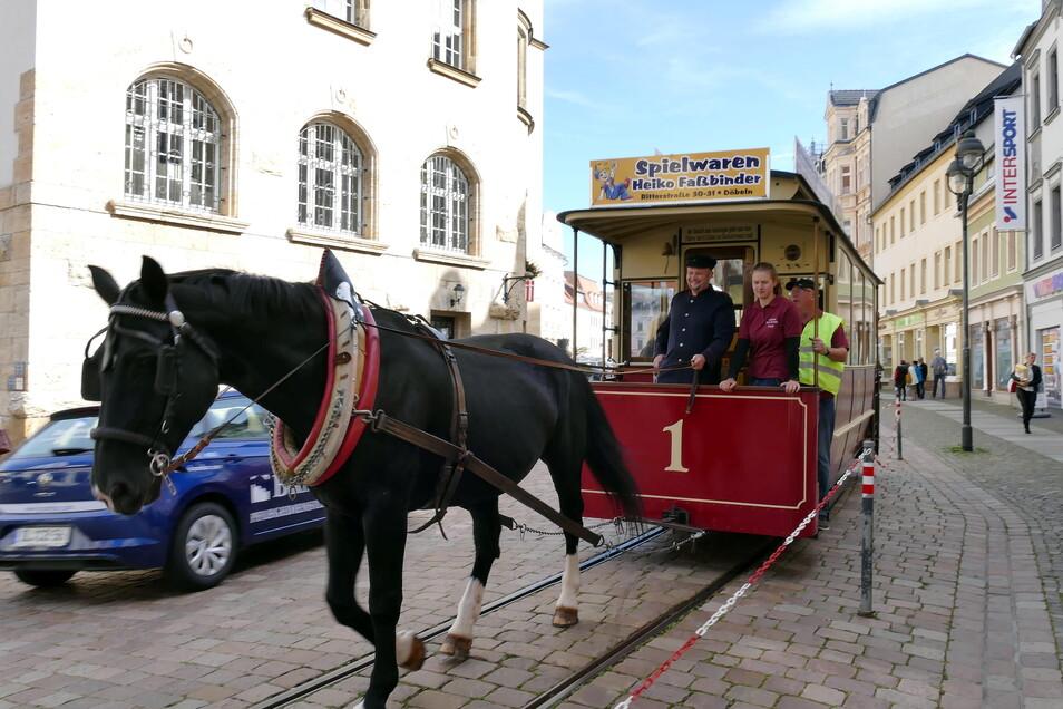 Die Döbelner Pferdebahn verbuchte in diesem Jahr insgesamt 1.300 Fahrgäste.