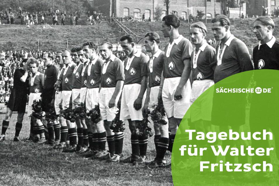 Als junger Trainer betreut Walter Fritzsch (r.) zur Saison 1950/51 die Mannschaft von Wismut Aue.