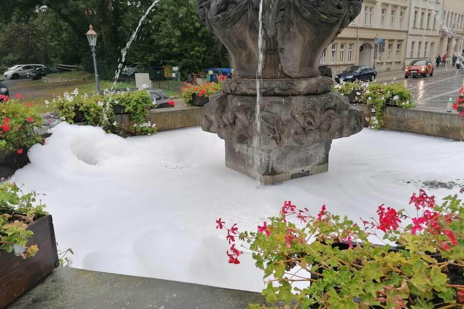 Der Samariterinnen-Brunnen schäumt - wegen Reinigungsmitteln.