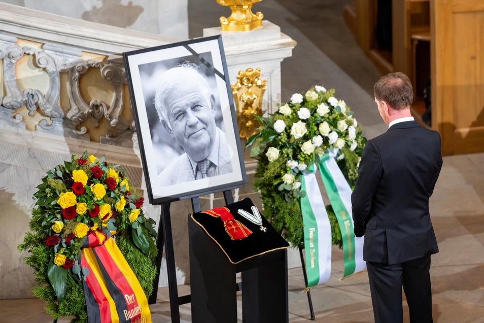 Sachsens Ministerpraesident Michael Kretschmer (CDU) beim Trauerstaatsakt zu Ehren des verstorbenen früheren sächsischen Ministerpräsidenten Kurt Biedenkopf .