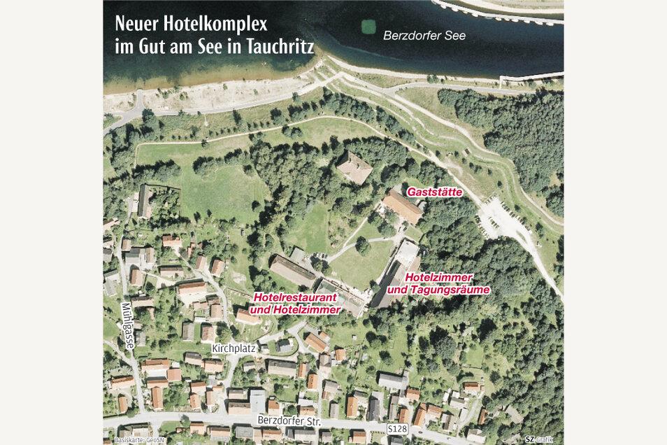 """Die Lage des Landhotels """"Gut am See"""" in Tauchritz."""