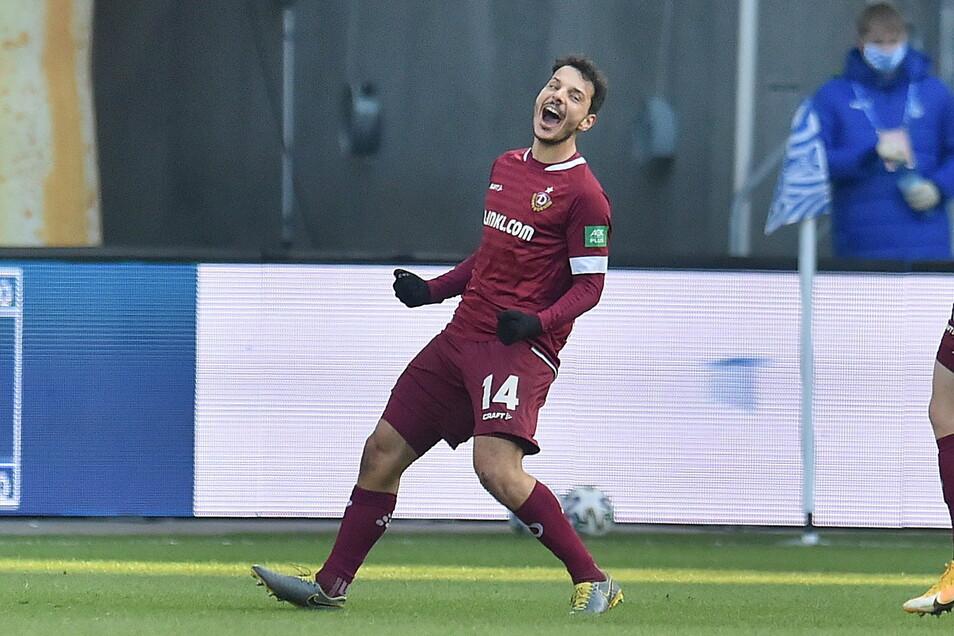 Philipp Hosiner hat Dynamo mit seinem Tor in der 25. Minute in Duisburg in Führung gebracht.