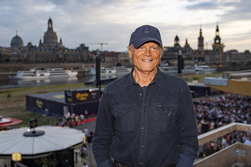 Live - wie hier im August 2018 - konnte Schauspieler Terence Hill am Wochenende nicht beim Spencer-Hill-Festival in Lommatzsch dabei sein. Doch er meldete sich per Telefon.