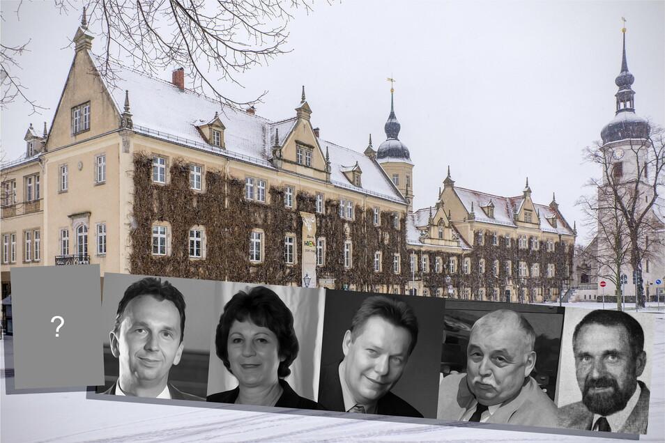 Bleibt Marco Müller (li.) im Amt oder bekommt Riesa ein neues Stadtoberhaupt? Vor dem heutigen OB hatten Gerti Töpfer (2003-2014), Wolfram Köhler (2001-2003), Horst Barth (1991-2001) und Manfred Jope (1990/91) das Amt inne.