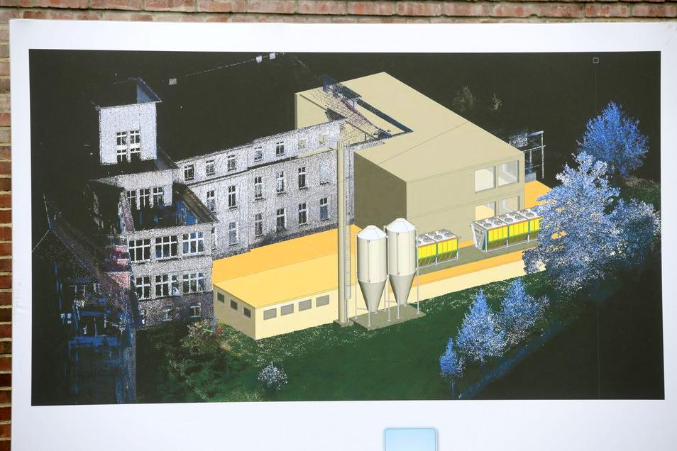 Eine Zeichnung des EVEKT-Projektes. Die neue Energieversorgungsanlage am Zittauer Klinikum entsteht zwischen dem Haus 2, der angrenzenden Notfall-Ambulanz und der Weinau-Allee. Beige im Vordergrund ist das Blockheizkraftwerk mit den Silos für die Pellets.