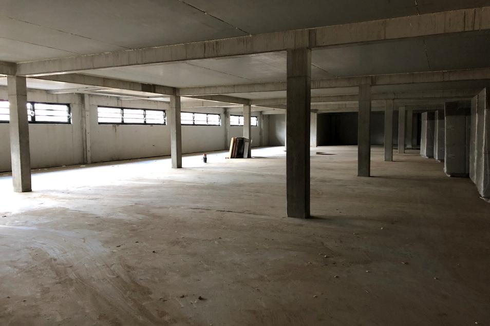 So sieht das Untergeschoss unter dem neuen Aldi-Markt in Leisnig aus. Hauptnutzer der 2.000 Quadratmeter könnte die Stadt Leisnig werden.