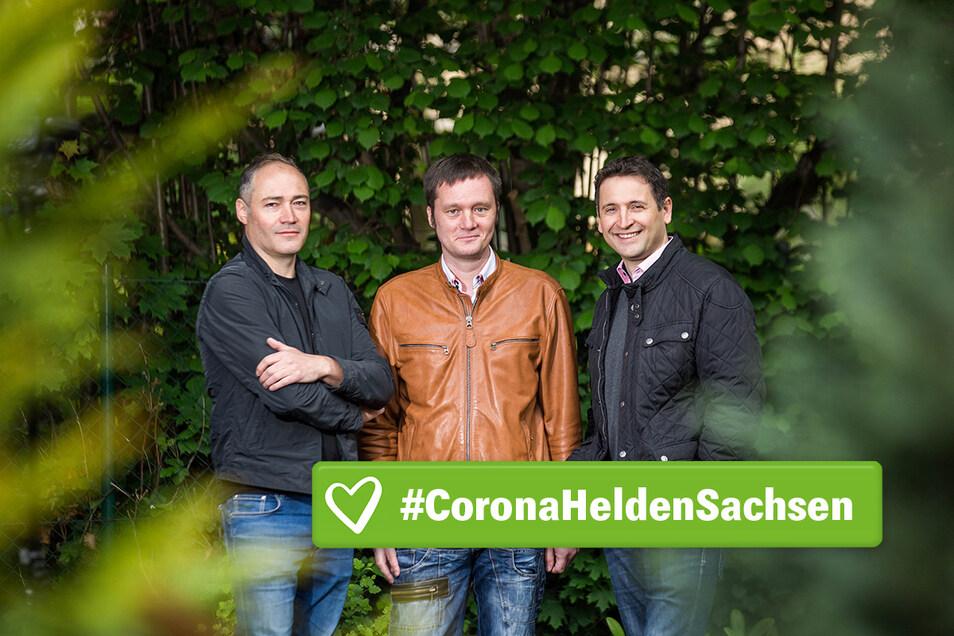 Sie bringen zu dritt zwei Parteien zusammen, für ein gemeinsames Ziel: Jens Aßmann, Tim Bärisch, Torsten Stein (v.l.) von Sachsenhilftsichselbst.