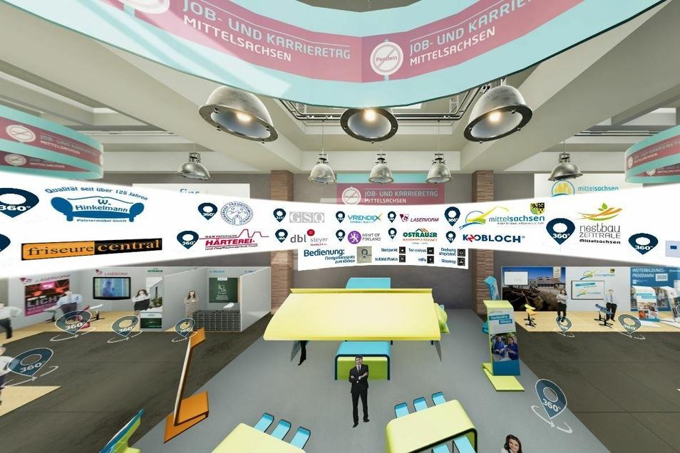 In der virtuellen Messe kann man sich analog zum echten Besuch vom einen Firmenstand zum anderen bewegen und mit den Mitarbeitern sprechen.