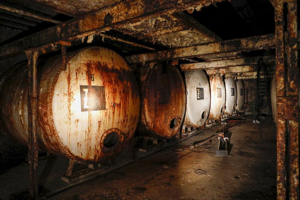 Die alten 10.000- bis 20.000- Liter-Tanks der Brauerei in Zittau.