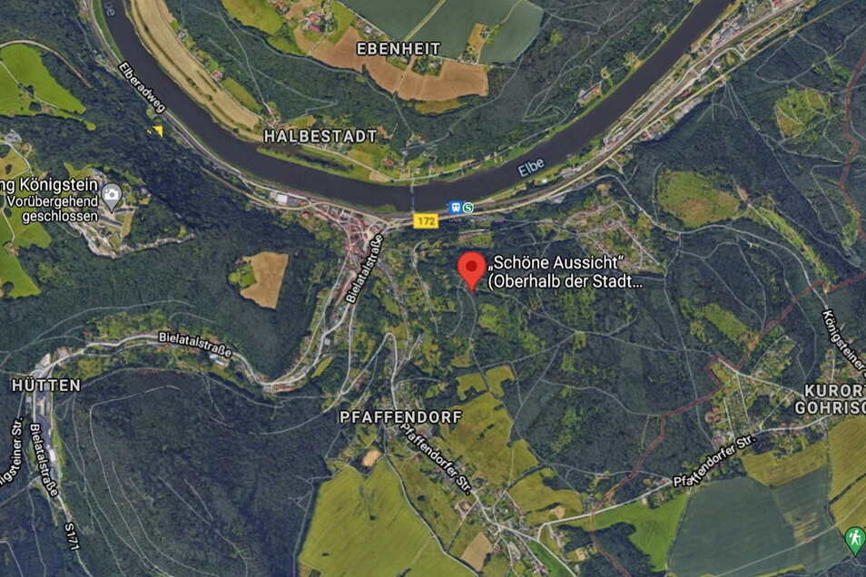 """Etwa 15 Minuten zu Fuß laufen Wanderer von Gohrisch bis zur """"Schönen Aussicht""""."""