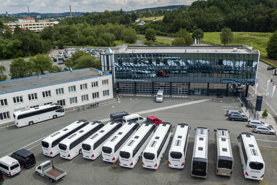 Blick auf das Gelände des MAN Bus Modification Centers in Plauen.