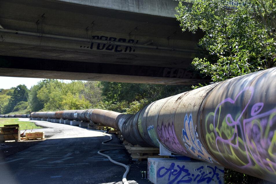 1,5 Kilometer lang wird die Abwasserleitung durch die Flutrinne.