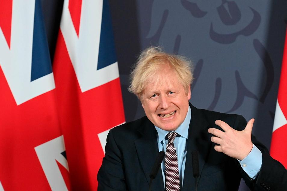 Boris Johnson, Premierminister von Großbritannien, spricht nach dem Durchbruch in den Brexit-Verhandlungen bei einer Pressekonferenz in der Downing Street.
