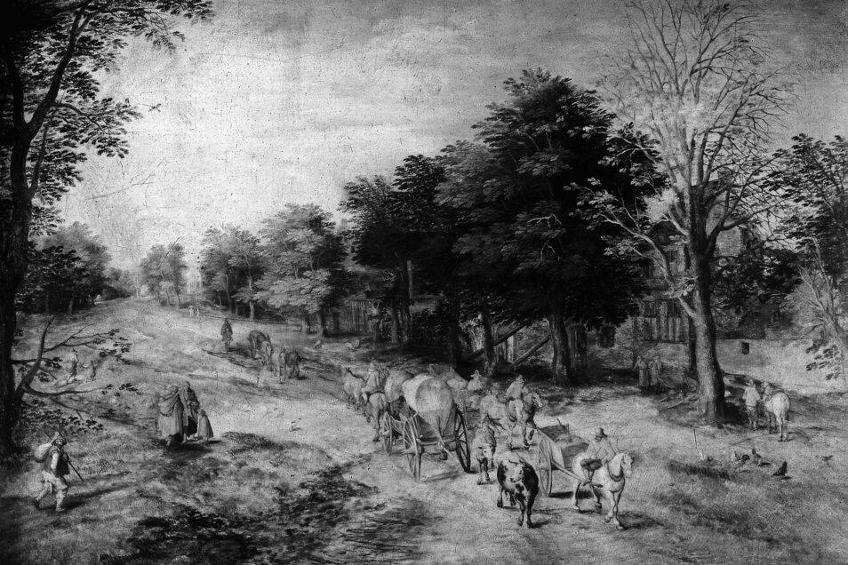 """Das Gemälde """"Landstraße mit Bauernwagen und Kühen"""" von Jan Brueghel dem Älteren wurde damals auch gestohlen."""