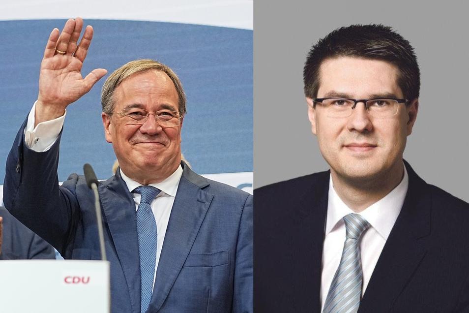 Döbelns Oberbürgermeister Sven Liebhauser (rechts) sagt deutlich: Armin Laschet trägt eine Mitschuld am schwachen Ergebnis der CDU in Mittelsachsen.