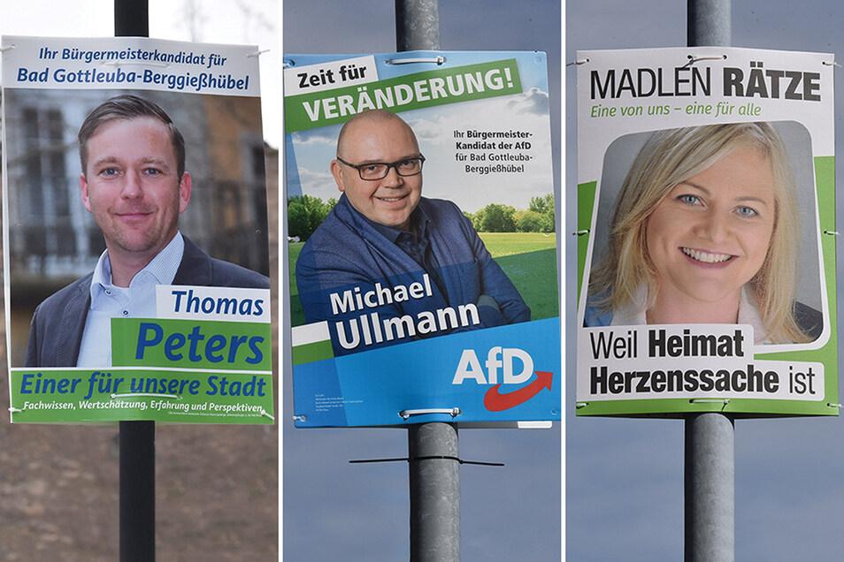 Können nun wieder abgenommen werden: Die Wahlplakate der drei Kandidaten.