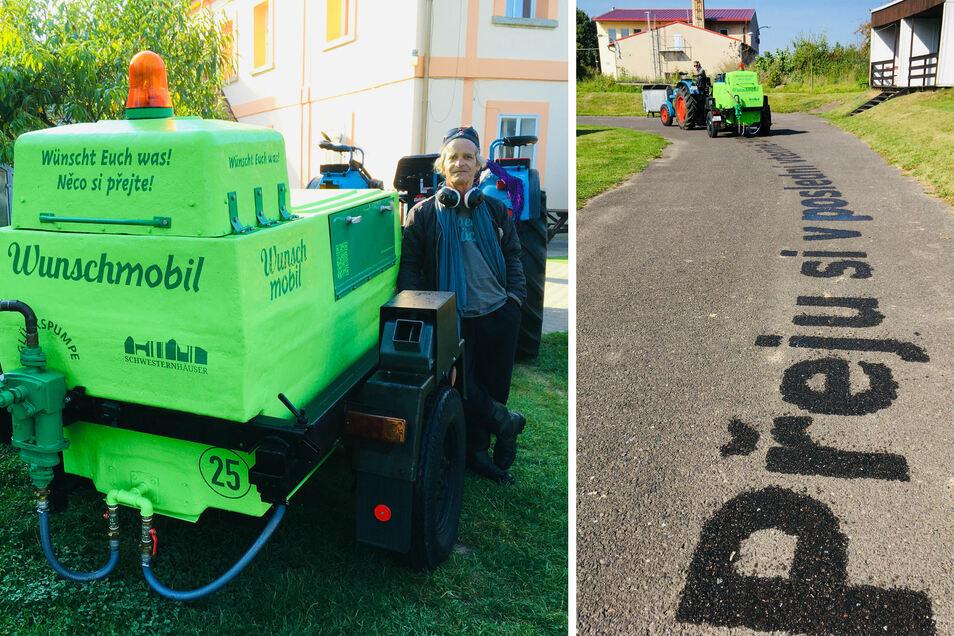 Unterwegs mit dem Wunschmobil: Mit Wasser sprüht Performance-Künstler Mike Salomon Botschaften auf die Straße; in zwei Sprachen.