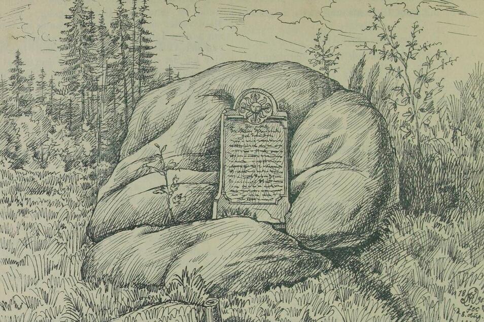 Der Peststein in einer Zeichnung von 1889 Aus: Bergblumen 1889.