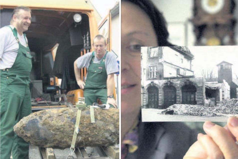 Zeugnisse der letzten Kriegstage: Bei Bauarbeiten an der Friedensstraße wurde am 18. August 2000 eine Fliegerbombe gefunden und geborgen (links).Die Leiterin des Stadtarchivs Zittau, Jutta Rothmann, zeigt ein Foto von der ausgebombten Feuerwache.