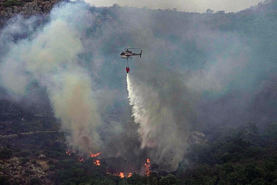 Ein Hubschrauber wirft über einem Waldgebiet in Cugliari Wasser ab, um Flammen zu löschen.