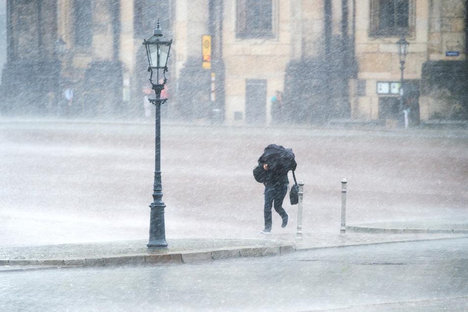 Extrem starker Regen wie hier am Theaterplatz fällt zwei- bis dreimal jährlich in Dresden.