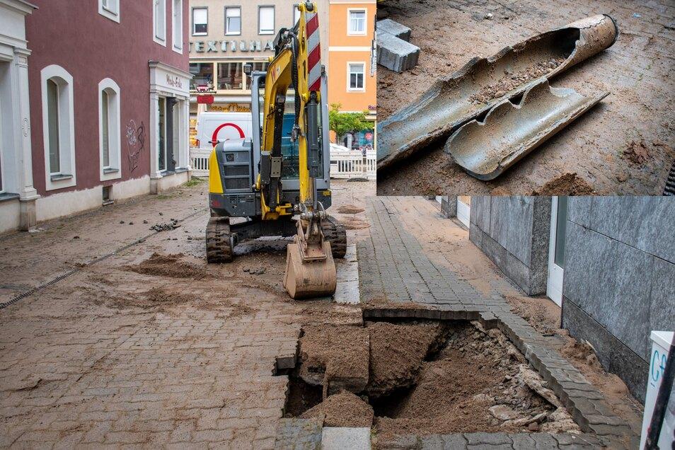 In der Fronstraße in Döbeln wird auch am Mittwoch weiter an der Trinkwasserleitung gearbeitet. Ein Rohr (kleines Fotos) ist am Dienstag geplatzt.
