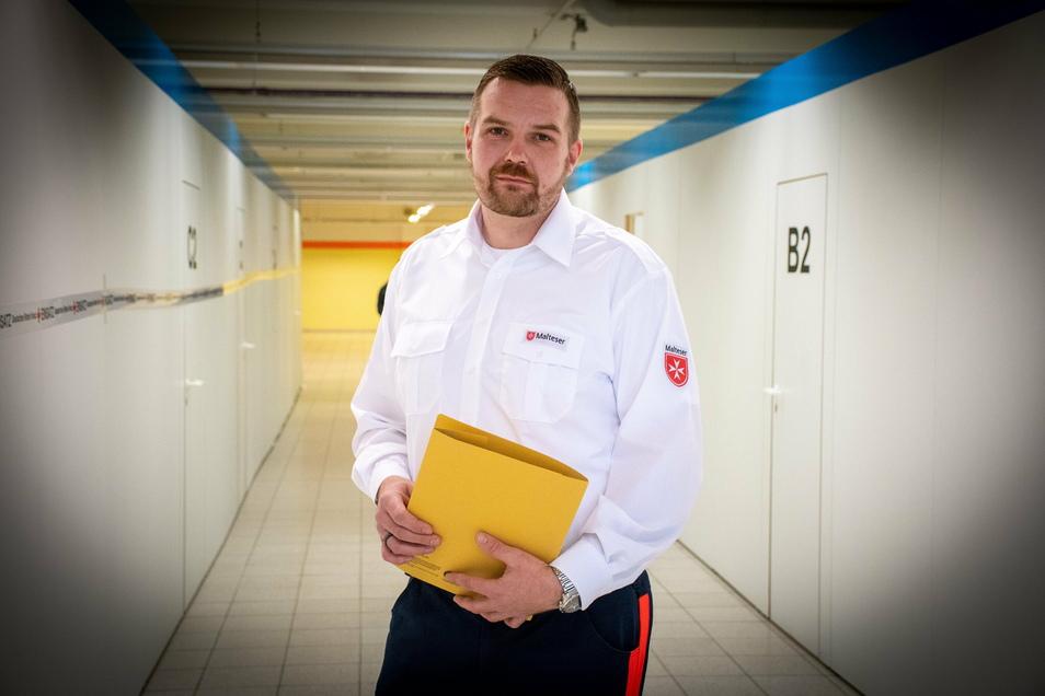 David Lehr vom Malteser Hilfsdienst aus Burgstädt ist für die mobilen Impfteams in Mittelsachsen verantwortlich.