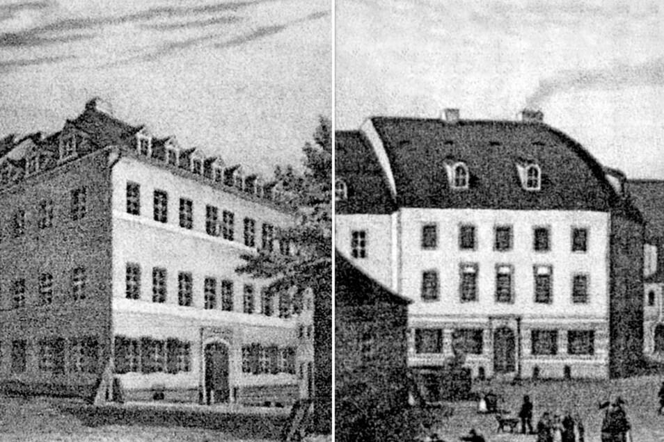 Zittaus Mädchenbürgerschule (links) und Zittaus Knabenbürgerschule in zeitgenössischen Darstellungen.