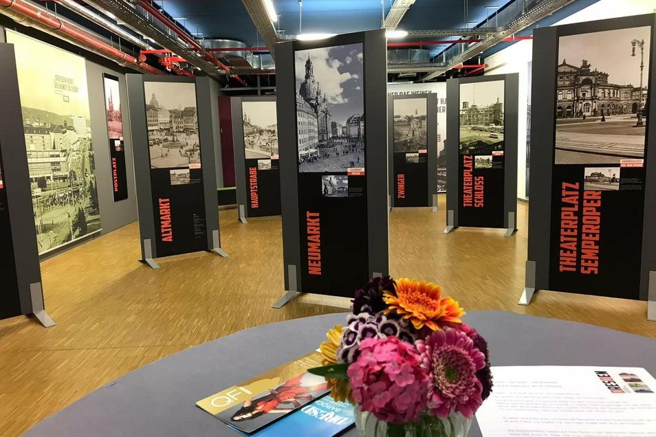 """Die Ausstellung """"Dresden – Vier Zeiten – Vier Ansichten"""" ist in der QF Passage zu sehen."""