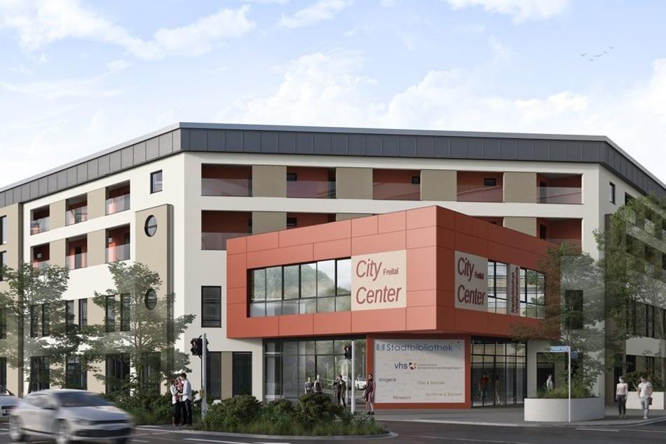 So soll der Haupteingang des City Centers in Zukunft aussehen. Die Wohnungsgesellschaft Freital investiert in den kommenden Monaten 1,9 Millionen Euro in den Umbau.