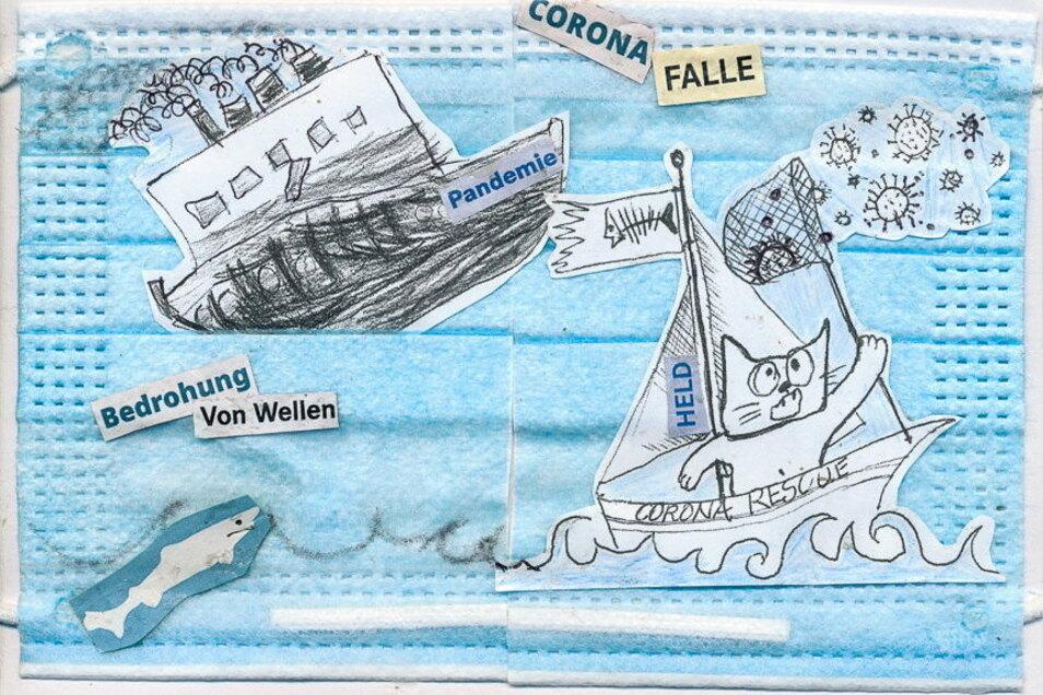 """""""Corona Falle"""" ist der Titel der Collage von Ines Pérez Navarro."""